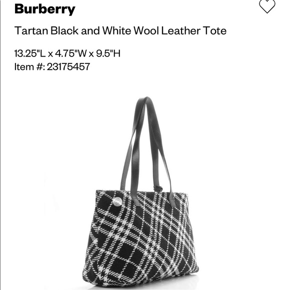 BURBERRY Wool Tartan Tote Bag Black White